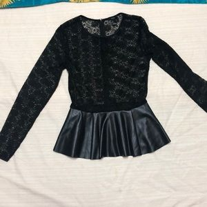 Forever 21 Tops - Black long sleeve Lace shirt SZ S